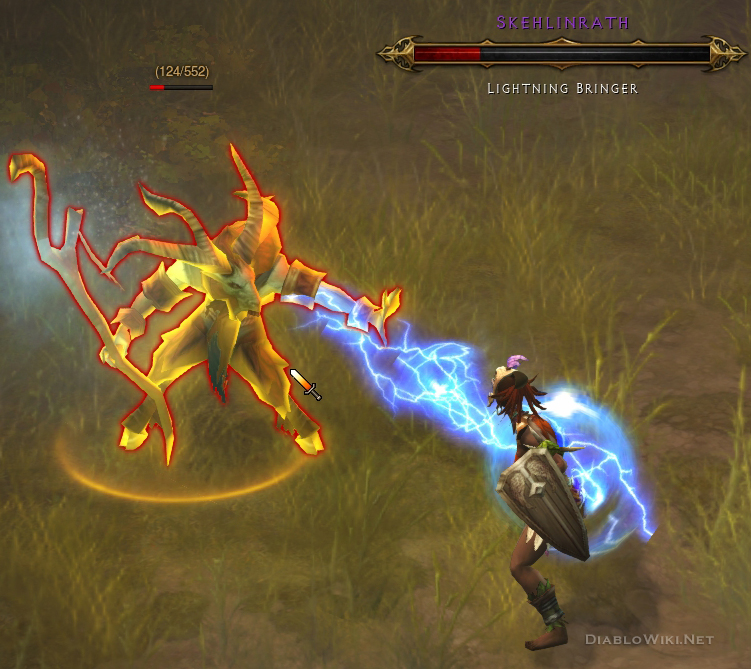 Skehlinrath attacking a Witch Doctor with Lighting