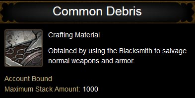 Common Debris tooltip.