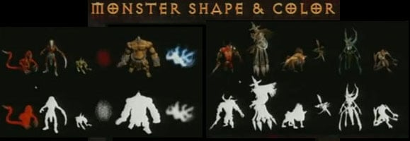 D2 and D3 monsters have distinctive shapes and outlines.