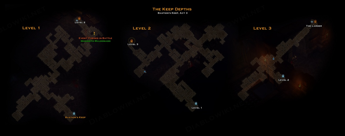 The Keep Depths map on ruins garden